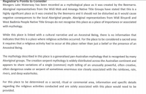 Extract of letter to Widi mob from DAA, need evidence of ritual activity